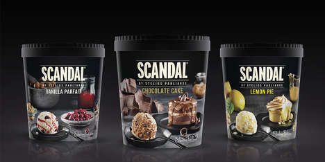 Dessert-Comparing Packaging - The 'SCANDAL' by Stelio Parliaros Ice Cream Desserts are Scrumptious