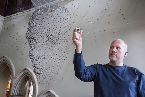 Suspended Steel Bard Strutures - Steven Follen Celebrates Shakespeare With a 3D Bust Made from Stars