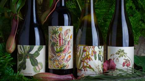 Botanist Vino Branding - This Provoca Bottle Design Concept Boasts Vivid and Floral Imagery