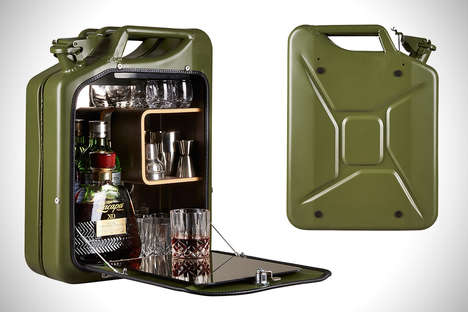 Canister Bar Cabinets - The Jerry Can Opts for a On-the-Go Bar Cart Located Inside a Former Gas Can