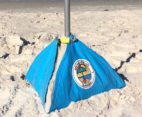 Windproof Beach Umbrella Bases - The 'beachBUB' Umbrella Base Uses Sand to Weigh Down Beach Parasols