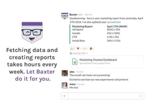 Automated Reporting Startups - Baxter Can Fetch Data, Create Reports and Send Them On Your Behalf