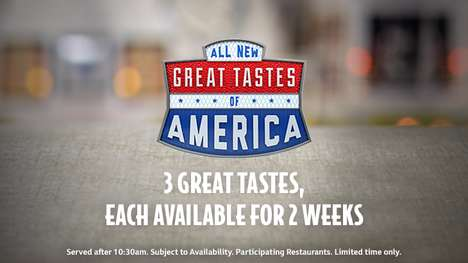 America-Themed Burger Menus - The Great Tastes of America Menu Features Iconic American Ingredients