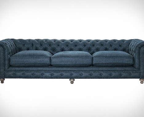 Feather-Filled Denim Sofas