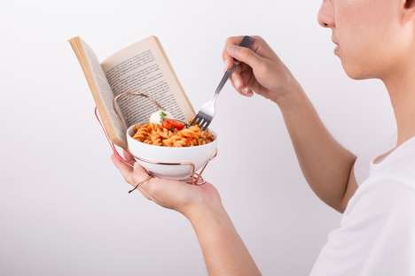 Book-Holding Bowl Supports - The 'Singular' Bowl Holder Aids Those that Eat and Read Alone