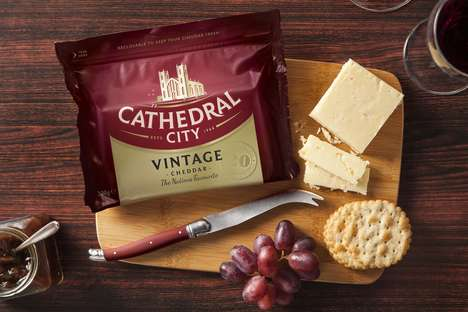 Symbolic Dairy Product Packaging - Cathedral City Cheeses Have Been Updated to be Heritage-Focused