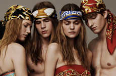 Lavish Neckwear Collections - The Latest Versace Scarf Campaign Embodies Opulence