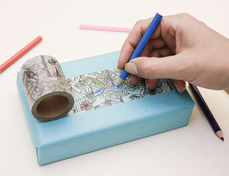 Coloring Tape Rolls - This Washi Tape Design is Like a Coloring Book in Adhesive Roll Form