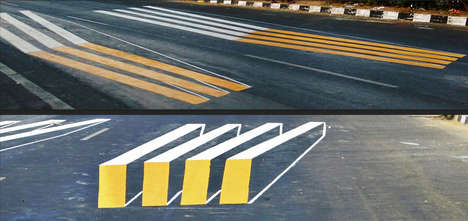 3D Crosswalk Illusions - This Illusory Indian Crosswalk Design Enhances Safety for Pedestrians