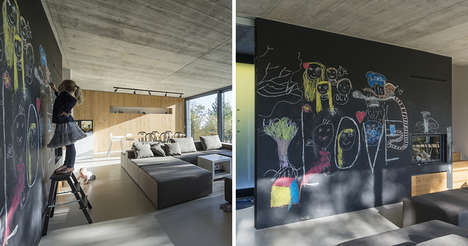 Chalkboard Wall Homes - Child-Friendly Living Areas Let Little Ones Draw on the Walls