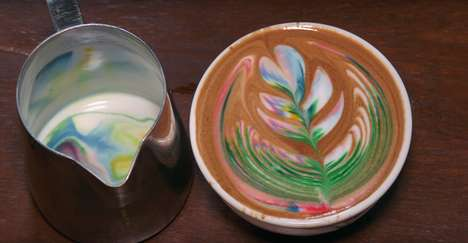 Rainbow Latte Art - Barista Kelsey Forde Creates Rainbow Latte Varieties Using Food Coloring