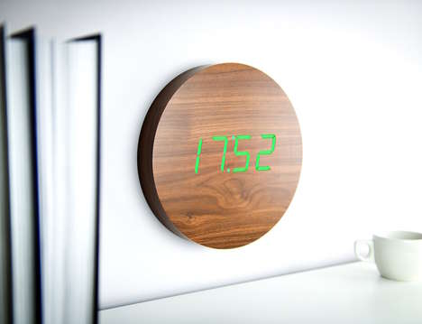 Responsive Digital Wall Clocks - The Walnut Click Clock Responds to Your Snaps or Claps