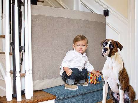 Soft Canvas Stair Blockers - The 'Stair Barrier' Baby Gate Keeps Children and Dogs Away from Stairs