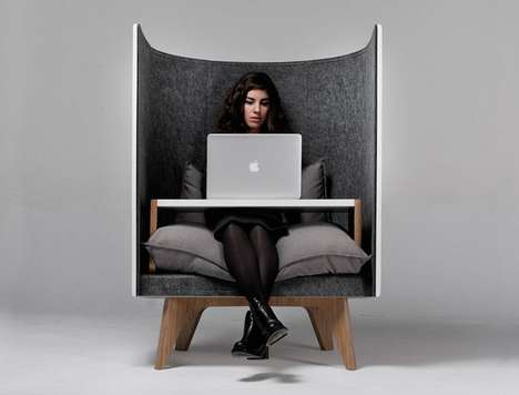 Comfy Privacy Work Chairs - The V1 Lounge Chair by ODESD2 Isolates the Sitter from Disruptions