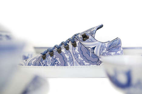 Patterned Ceramic Sneakers - The Bodega Ceramic Blue Mountain Cut Shoes Emulate Fine Blue China