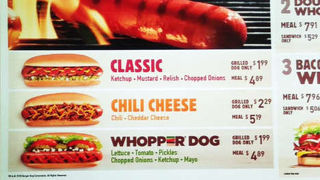 Hamburger-Inspired Hot Dogs - The New Whopper Dog Joins Burger King's Existing Grilled Dogs Lineup