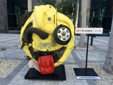 Mangled Emoji Sculptures - 'The Last Emoji' Installation Marks Distracted Driving Awareness Month