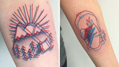 Geometric 3D Tattoos - These Body Art Designs are Fashioned Out of Two Outlines in Red and Blue