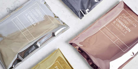Metallic Popcorn Packaging - Diz-Diz's Microwave Popcorn Bags Come in Gold, Silver and Bronze