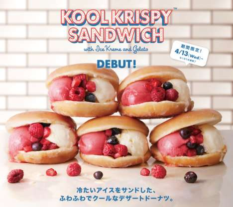 Gelato-Filled Donut Sandwiches - The Kool Krispy Sandwich Upgrades the Classic Ice Cream Sandwich