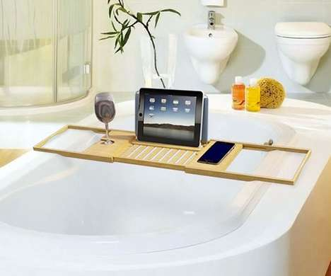 Tech Bathtub Trays - This Wooden Caddy is Designed to Hold Smartphones and Tablets For Bath Time Use