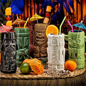 Tropical Sci-Fi Mugs - These Tiki Glasses are Decorated to Look Like Various Star Wars Characters