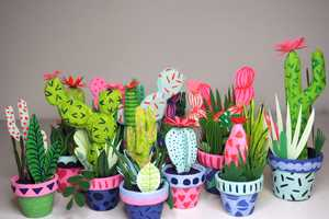 Kim Sielbeck's Faux Potted Plants Feature the Artist's Illustrations