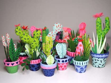 Paper-Made Cacti Art - Kim Sielbeck's Faux Potted Plants Feature the Artist's Illustrations