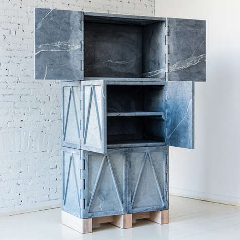 Stone Shipping Container Shelving - The Fort Standard Relief Stone Cabinet is Made Using Rock Slabs