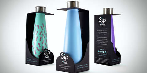 Bare Water Bottle Packaging - The S'ip by S'well Bottle Branding Lets the Product Speak for Itself