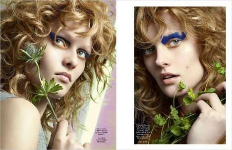 Earthy Beauty Portraits - 'Warm Up With The Blues' Spoltight Wild Hair and Smudged Eyeshadow