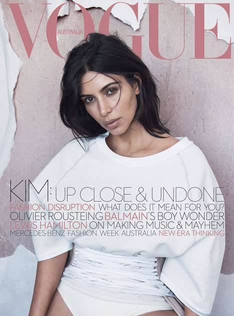 Corsetted Celebrity Covers - The Kim Kardashian Vogue Australia Photo Shoot Features Yeezy Season 3