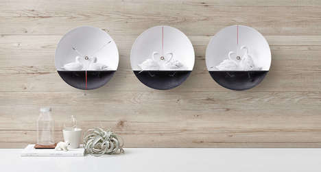 Elegant Waterbird Clocks - Haoshi Design Creates an Artistic Time-Teller that is Visually Striking