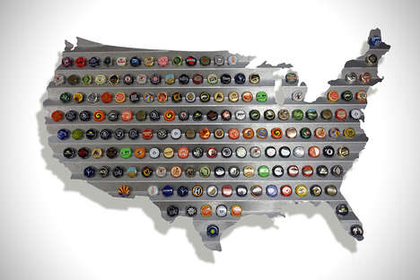 Capped Beverage Maps - The Steel Beer Caps Map Display One's Collection Typographically