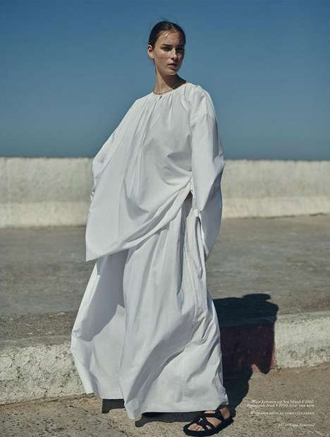 Oversized Monochromatic Fashion - Vogue Netherlands' Latest Cover Story Features Julia Bergshoeff