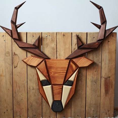 Wooden Taxidermy Trophies - The Traverse 'POLIGON' Animal Trophies are Geometrically Modern