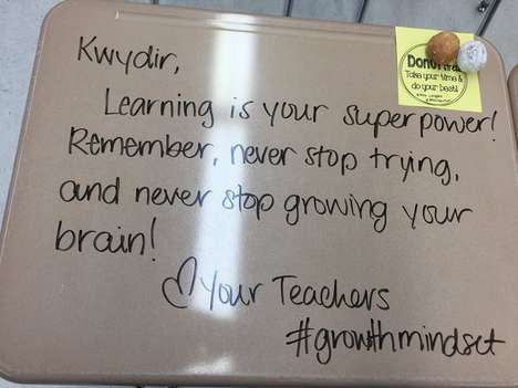Inspirational Desk Messages - A New Jersey Teacher Spread Word of Her Growth Mindset Educating Style