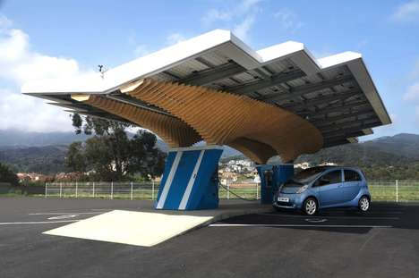 Chic Solar Charging Stations - The Peugeot 'Driveco Parsol' Vehicle Charging Station is Sustainable