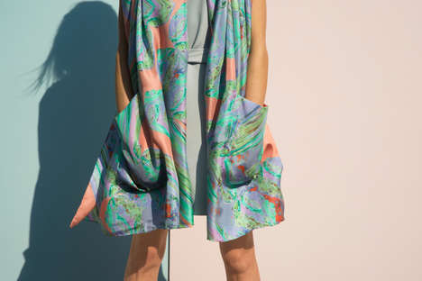 Digital Scarf Designs - These Vibrant Luxury Scarves are Inspired by Nature