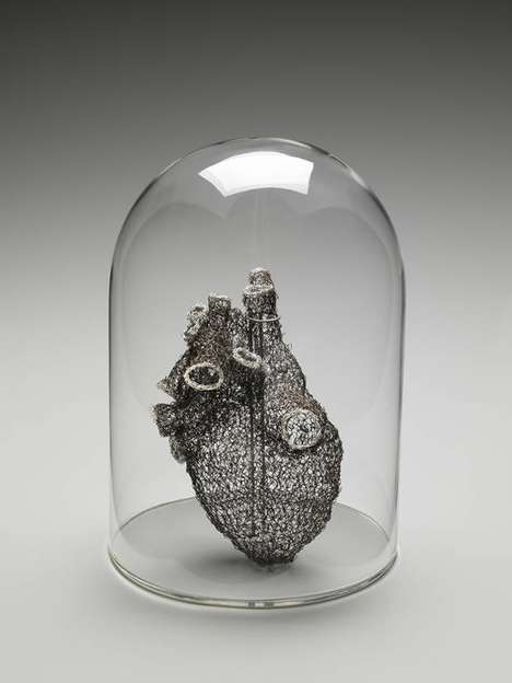 3D-Modelled Metallic Organs - Anne Mondro Recreates Human Hearts Out Using Tech and Knit Wires