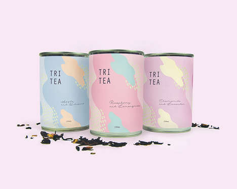 Pastel Tea Packaging - The Tri Tea Brand Identity is Inspired by Different Flavor Combinations
