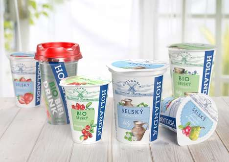 Dramatic Yogurt Redesigns - Hollandia Yogurt is Cleaner Yet Still Full of Historical References