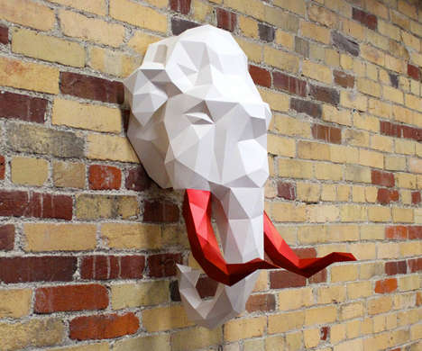 Papercraft Game Trophies - These Paper Animal Head Trophy Kits are Exotic and Modern