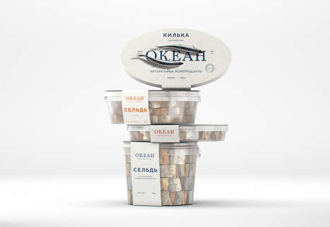 Ocean-Inspired Seafood Branding - The Packaging for Ocean Seafood is Vivid and Fluid