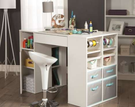 Organizational Crafting Furniture - The South Shore Counter-Height Craft Table Stores Supplies