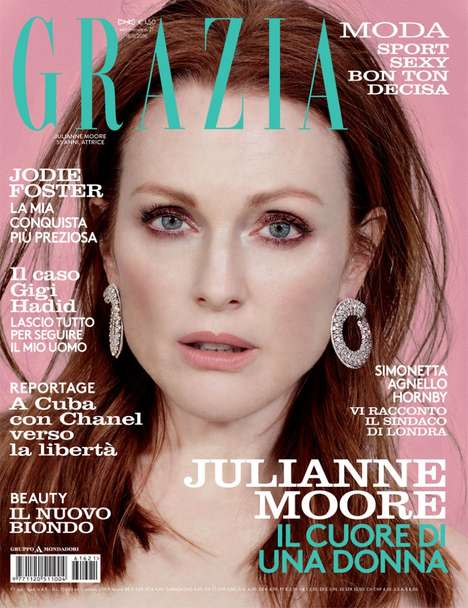 Approachable Glam Fashion - The Julianne Moore Grazia Editorial Showcases Sophisticated Style