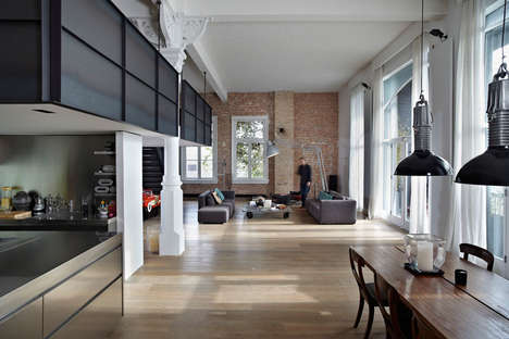 Redesigned Industrial Lofts - This Amsterdam Apartment Embraces Industrial Elements