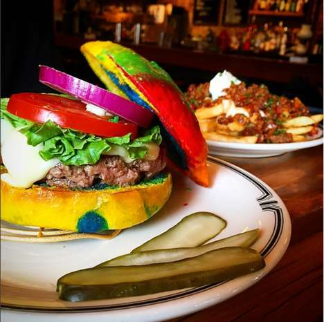 Rainbow Burger Buns - Joe's Bar in New York Offered Very Colorful Brioche Buns for Burger Week