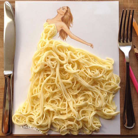 Fashionable Food Illustrations - These Garment Designs are Recreated Using Edible Ingredients