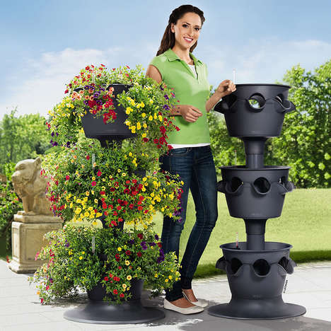 Self-Watering Garden Towers - The Lechuza Cascada Stackable Planters Keep Greenery Growing